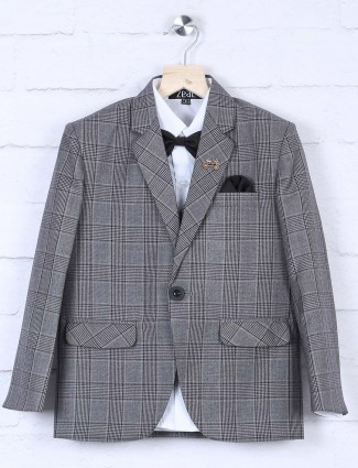 Grey color tweed pattern coat suit for boys
