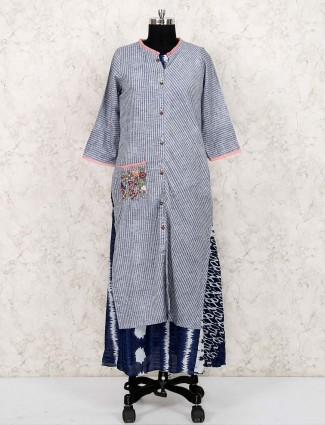 Grey colored cotton fabric double layered kurti