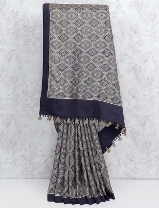 Grey colored festive wear saree in cotton