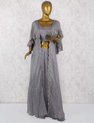 Grey colored hue cotton silk lehenga cum salwar suit
