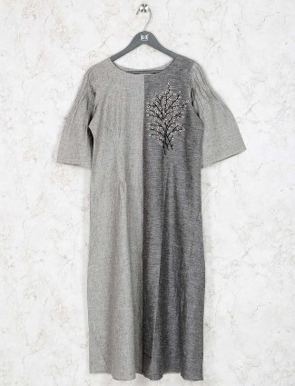 Grey colored kurti in cotton