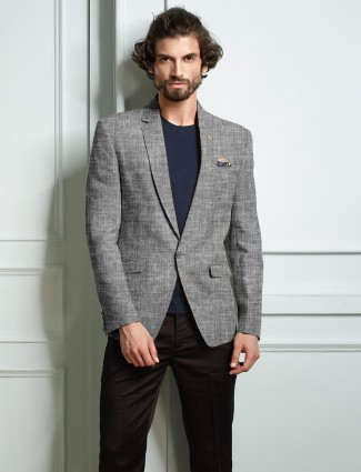 Grey colored lenin mens blazer