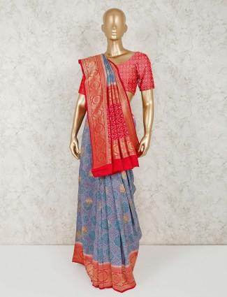 Grey colour printed semi silk saree
