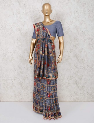 Grey colour saree in bandhej