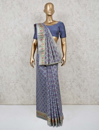 Grey cotton banarasi silk festive funciton saree