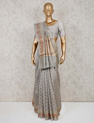 Grey cotton banarasi silk festive saree