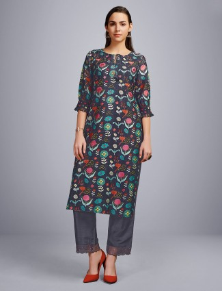 Grey cotton casual days kurti