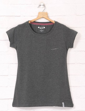 Grey cotton casual wear tshirt