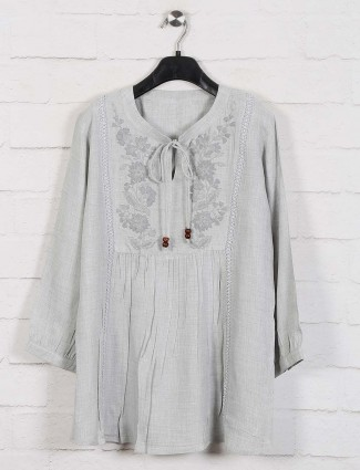 Grey cotton chinese neck top