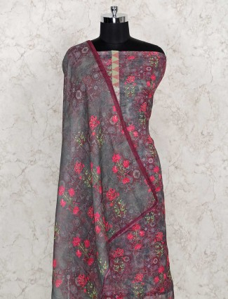 Grey cotton dress material for festival