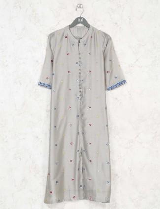 Grey cotton elbow sleeves kurti