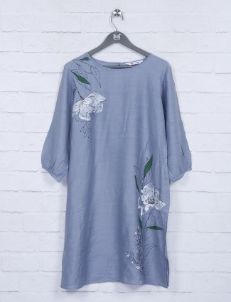 Grey cotton fabric printed pattern top
