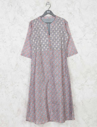 Grey cotton festival wear kurti