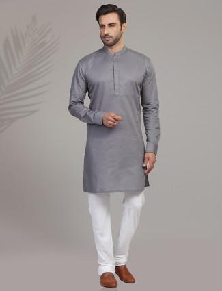 Grey cotton festive wear kurta suit