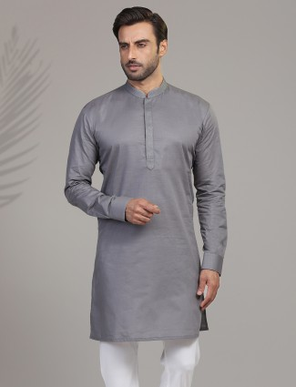 Grey cotton festive wear mens kurta