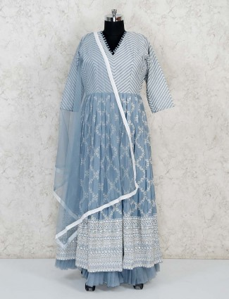 Grey cotton floor length anarkali suit