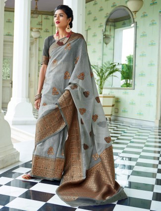 Grey cotton linen festive saree