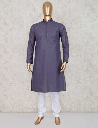Grey cotton mens kurta suit