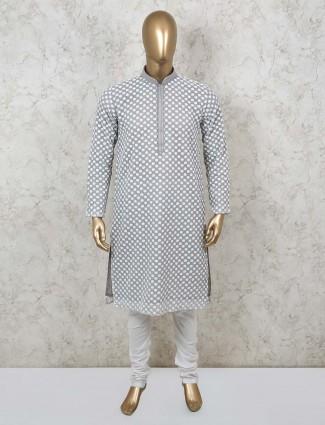 Grey cotton mens mens kurta suit