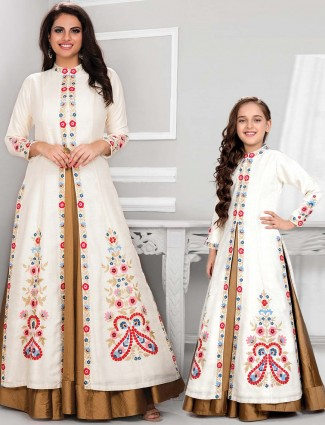 Off white mother daughter anarkali suit with jacket in cotton silk