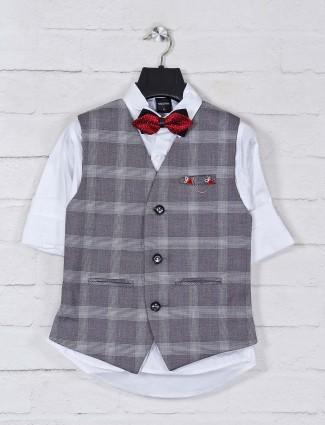 Grey cotton partywear boys waistcoat