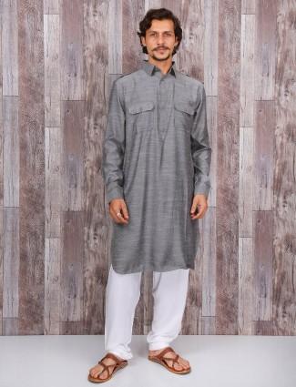 Grey cotton plain pathani suit