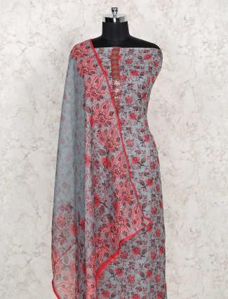 Grey cotton punjabi dress material
