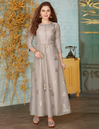 Grey cotton quarter sleeves floor length anarkali suit