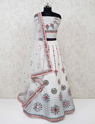 Grey cotton semi stitched wedding lehenga choli