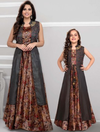 Grey cotton silk festive mother daughter anarkali suit with jacket