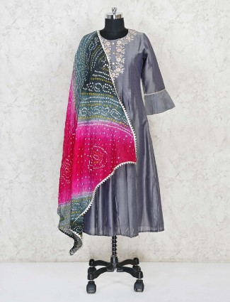 Grey cotton silk festive wear kurti
