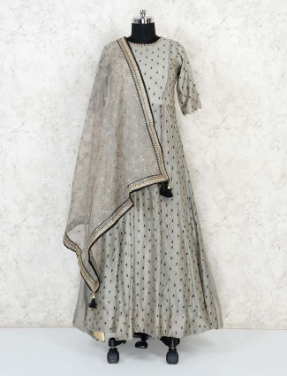 Grey cotton silk floor length anarkali designer suit