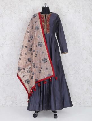 Grey cotton silk floor length anarkali suit