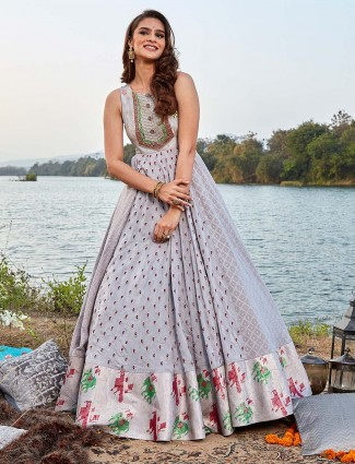 Grey cotton silk floor length anarkali suit in festive