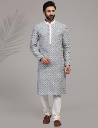 Grey cotton silk full sleeeves kurta suit