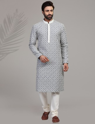 Grey cotton silk full sleeeves kurta suit