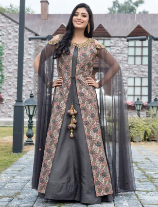 Grey cotton silk jacket style printed gown