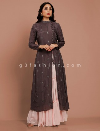 Grey cotton silk lehenga suit for pretty womens
