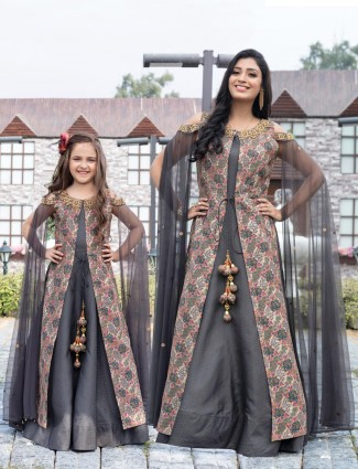 Grey cotton silk mother daughter jacket style gown