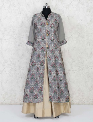 Grey cotton silk printed lehenga suit