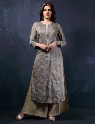 Grey cotton silk round neck long kurti