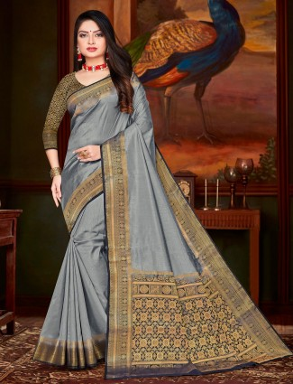 Grey cotton silk saree for festivals