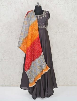 Grey designer anarakli in raw silk for party functions