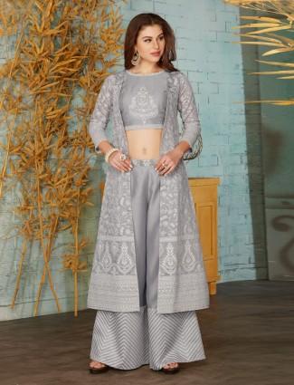 Grey designer indo western cotton silk palazzo suit