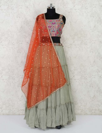 Grey designer layered lehenga choli for weddings