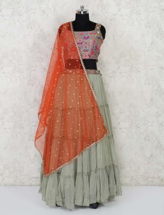Grey designer layered lehenga choli for weddings