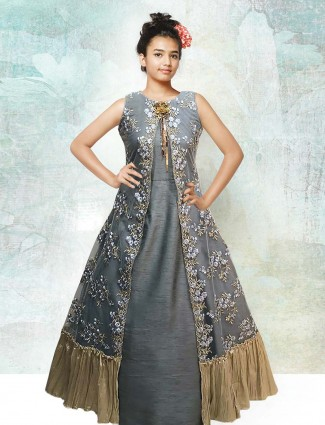 Grey designer long gown for girls