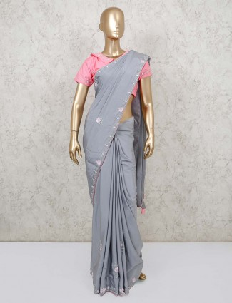 Grey designer saree in dola silk with readymade blouse