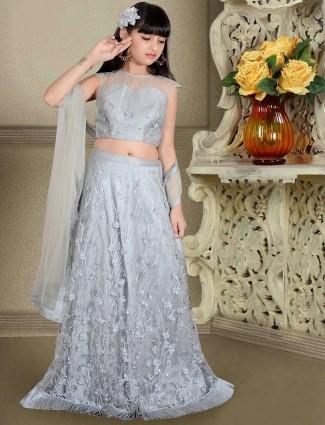Grey designer silk fabric lehenga choli