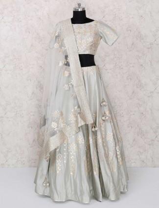 Grey designer silk party wear lehenga choli